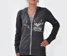 Japanese inspired kawaii Women Ninja Owl Eco Hether Zip by namu, $52.00