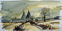 Rowland Hilder a wonderful watercolour artist is perhaps most famous for his Kent countryside scenes and Oast Houses. This is a very collectable painting. Watercolor Painting Techniques, Watercolor Art, Art For Sale Online, Black And White Drawing, Paintings For Sale, House Painting, Victorian Era, Pattern Art, Artist At Work