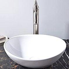 KINGO HOME Above Counter White Bathroom Vessel Sink Glass Vessel Sinks, Vessel Sink Bathroom, Vanity Sink, Bathroom Fixtures, Copper Bathroom, Basin Sink, Bathroom Shower Doors, Shower Faucet, White Bathroom