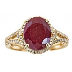 Anika and August 14k Gold Oval-cut Ruby and Diamond Ring