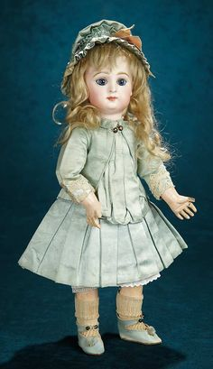 """Forever Young - Marquis Antique Doll Auction: 15 All-Original French Bisque """"Paris Bebe"""" by Emile Jumeau With Signed Aqua Jumeau Shoes"""