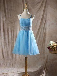 Blue Tulle Sweetheart and Spaghetti Straps Beading Short/Mini Cheap Prom Dresses - dressesofgirl.com