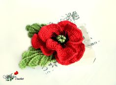 Red poppy flower crochet brooch. Cotton Corsage Brooch. Gifts for Her. Fashion trends.