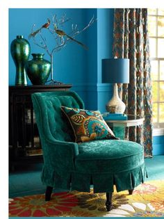 Blue Teal Love The Vases Aqua Turquoise Home Decor Design Furniture Armchair Chair