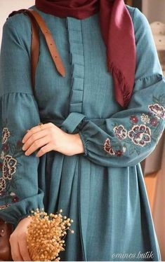 Modesty Fashion, Abaya Fashion, Fashion Mode, Muslim Fashion, Estilo Abaya, Hijab Evening Dress, Mode Abaya, Iranian Women Fashion, Sleeves Designs For Dresses