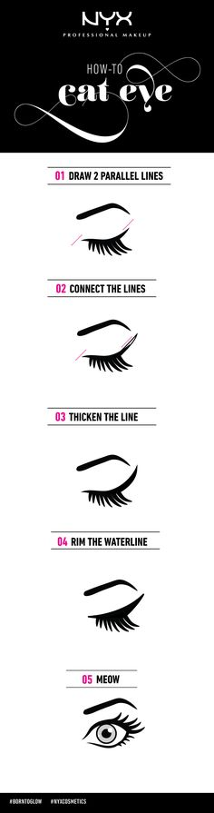 "Quick and simple how-to for cat eyes. Try out NYX Cosmetics ""The Curve"" for the precise liner."