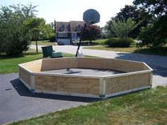 Build your own Gaga (Pit Ball) Pit at home! We do six sides instead of eight, to make ours a little smaller, and the the extra wood to support the plywood sides makes it sturdier (and heavier) but is not necessary.