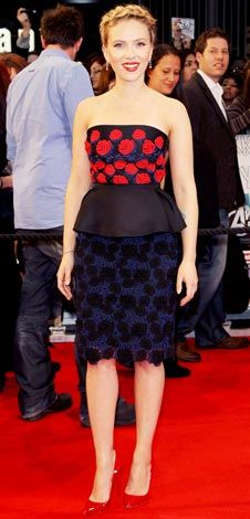 The actress walked the red carpet at the London premiere of The Avengers in a floral embroidered design from Prada, patent heels and Bulgari diamond earrings.