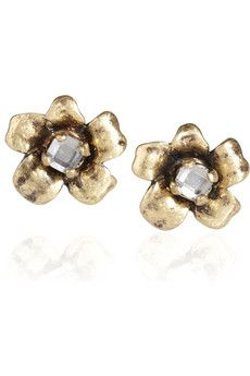 Marc by Marc Jacobs | L'Amour Fou crystal-embellished flower earrings | NET-A-PORTER.COM