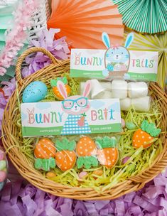 Easter fun for everyone! This party is so whimsical and sweet full of Easter decor ideas, adorable Easter cookies, Easter chocolate and fun Easter decorations. Also some of the DIY Easter decorations are free printable graphics available on Just Add Confetti as well as printable favor tags available in my Etsy shop.