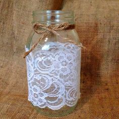 Large Ball mason jar White lace Twine wrapped With or without twine bow *Bulk available *Ask about our event pricing