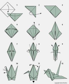The traditional origami crane. Perfect for Sticky Note Origami. Visit the webpage to learn more about Origami Tutorials Origami Yoda, 3d Origami, Origami Ball, Dragon Origami, Chat Origami, Origami Simple, Origami Tattoo, Origami Butterfly, Paper Crafts Origami