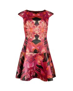 JUNGE ORCHID DROP WAIST DRESS - Maroon | Dresses | Ted Baker
