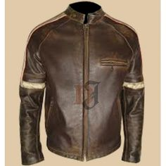 Mens Hero Distressed Brown Leather Jacket