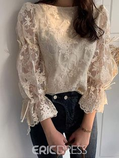 Casual Sexy Lace Splicing Long Sleeve Blouse - - Source by ressammelekerol 2020 Fashion Trends, Fashion 2020, Street Fashion, Fashion Art, Fashion Ideas, Blouse Vintage, Vintage Lace, Floral Blouse, Printed Blouse