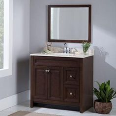 Home Decorators Collection Brinkhill 31.4 in. W x 25.6 in. H Wall Mirror in Cognac-BWWM26-CG - The Home Depot