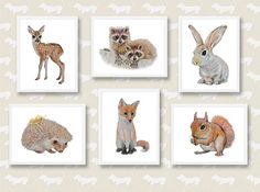 Woodland Nursery Art Forest Animals Baby Animal by AnimArtPrint
