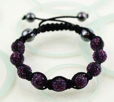 Crystal Disco Clay Ball Friendship Style Bracelets --  Dark Purple. $6.99, via Etsy.