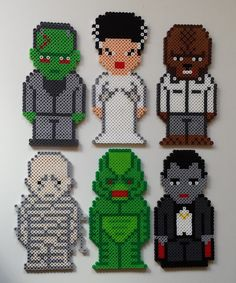 Week 16, Day 108, Scary, Classic Monsters, Frankenstein, Bride of Frankenstein, Wolfman, Mummy, Creature from the Black Lagoon, Dracula. 365 Day Perler Bead Challenge.