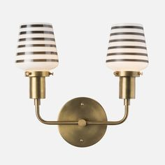 Abrams Double Sconce | Wall Lighting | Natural Brass | Striped Opal Shade | Schoolhouse Electric