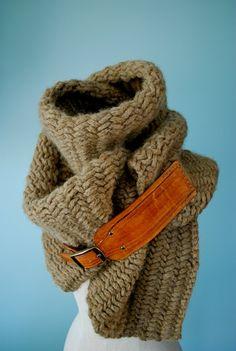 Herringbone chunky scarf with leather buckle by EandAHeritage