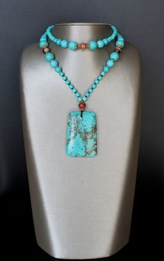 Turquoise and brown agate necklace long handmade by SabouriDesign, $49.99