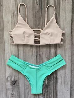 Cut Out Color Block Spaghetti Straps Bikini Set #Mint_Green #Strappy #Bikini #Beach_Fashion