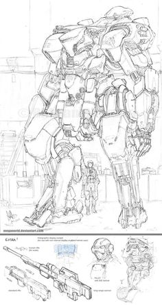 Mecha - Shinden by MeganeRid on DeviantArt Robot Concept Art, Armor Concept, Character Concept, Character Art, Robots Drawing, Arte Robot, Robot Design, Cyberpunk Art, Mechanical Design