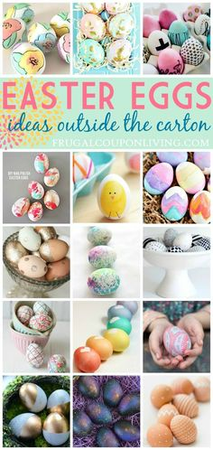 Think outside the Carton with these Easter Egg Dying Ideas - Gone are the days of boxed dye kits for Easter Eggs! Grab one of these ideas and have a blast with your eggs this year! There is something here to fill every crafty whim and style! Like Gold? Look at all of the fun ideas with a metallic twist. Go mixed media by using nail polish, silk ties or even a napkin! Uplift and inspire with beautiful words on your eggs. Chalkboard, foil or glitter your style? Check out all of these fun ideas...