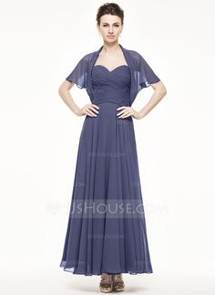 A-Line/Princess Sweetheart Ankle-Length Chiffon Mother of the Bride Dress With Ruffle (008062538) - JJsHouse