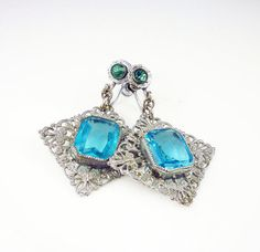 Art Deco Earrings Aquamarine Glass Silver by zephyrvintage on Etsy, $42.00