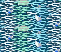 paddling out navy fabric by mirjamauno on Spoonflower - custom fabric
