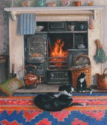 LUCY and MONTY In Front of the Fire ¤¤¤§§§¤¤¤ Painting by Stephen J Darbishire RBA who lives, with his wife and family, in a farmhouse hidden in the mountains of the English Lake District Cosy Room, Summer Painting, Fire Painting, Beautiful Paintings, Cat Art, Painting Inspiration, Vintage Art, Folk Art, Art Gallery