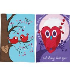 Lovebirds Valentine Handcrafted Indoor/Outdoor Flag by Evergreen. $9.98. Soft, specially treated nylon fabric. Water repellent & UV resistant. Bright and colorful. Size: 12 -1/2 inches x 18 inches. Double-sided design. Post a statement of love as a fun surprise for your sweethearts on Valentine's Day. Hang them indoors or out year round as a heartfelt room or window decoration. Our handcrafted flags are double-sided and made from soft, high-quality, specially treated nylon fabric...