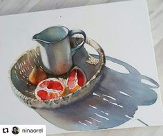 "880 Likes, 5 Comments - WATERCOLOR. ART. АКВАРЕЛЬ. (@cartel.watercolorists) on Instagram: ""By @ninaorel to #cartel_watercolorists ⚬⚬⚬ Работа из серии ""чем бы не парился, лишь бы употел""…"""