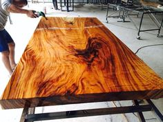 Slab Table, Solid Wood Dining Table, Wood Tables, Natural Wood Table, Live Edge Table, Wooden Crates, Wood Slab, Acacia Wood, Farmhouse Table
