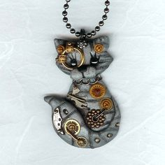 Steampunk Silver Gray Tabby Kitty Cat Necklace Polymer Clay Jewelry.