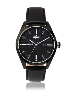 Lacoste Men's 2010598 Montreal Black Leather Watch at MYHABIT