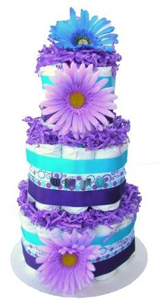 Diaper Cake for Boy or Girl LAVENDER and TEAL by BabyCakesMN, $49.00