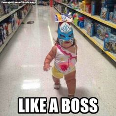 Like A Boss Funny Kid Girl Walking Around Wal-Mart With Mask