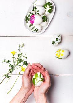 Lim fine forårsblomster og blade fast på dine påskeæg