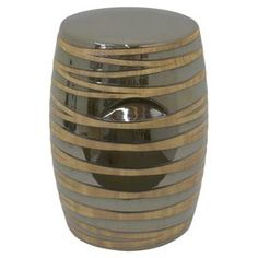"""Offer guests an extra seat or rest a tray of cocktails atop this lovely ceramic garden stool, showcasing a striped design and grey finish.   Product: StoolConstruction Material: CeramicColor: GreyDimensions: 18"""" H x 12.6"""" Diameter"""