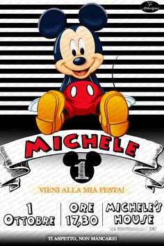 FEDERICO  29 dicembre ore 20:30 A casa mia. Mickey Mouse Cupcakes, Mickey Mouse Parties, Mickey Party, Disney Parties, Mickey Cakes, Mouse Cake, Party Invitations Kids, Digital Invitations, Printable Invitations