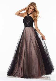 Shop Morilee's A-Line Prom Gown Featuring a Beaded Lace Bodice and Full Tulle Skirt. Prom Dresses by Morilee designed by Madeline Gardner. Halter Neckline and A-Line Prom Gown Featuring a Beaded Lace Bodice and Full Tulle Skirt. Pretty Prom Dresses, Hoco Dresses, Gala Dresses, Pageant Dresses, Cute Dresses, Sexy Dresses, Beautiful Dresses, Formal Dresses, Dresses 2014