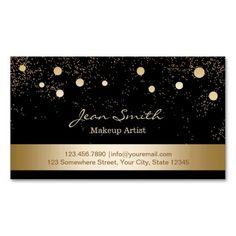 Modern Gold Confetti Dots Makeup Artist Business Card Templates