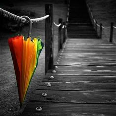 black and white with colorful umbrella