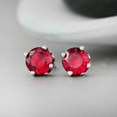 3.00Ct Round Cut Red Ruby Solitaire Stud Women's Earrings 14K White Gold Finish | eBay Filigree Earrings, Women's Earrings, Gemstone Earrings, Silver Clutch, Ruby Stone, Sterling Silver Filigree, Gemstones, July Birthstone, Unisex