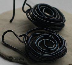 Steel Wire Birds Nest Earrings Steel Wire Jewelry by gcuff on Etsy, $18.00