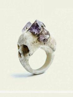 skull, amethyst ring