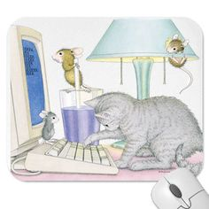 Single Postcard - 4 x 6 - - The Official House-Mouse Designs® Web Site Coloring Books, Coloring Pages, House Mouse Stamps, Mouse Color, Christmas Car, Cat Mouse, Blank Cards, Cat Art, Cats And Kittens